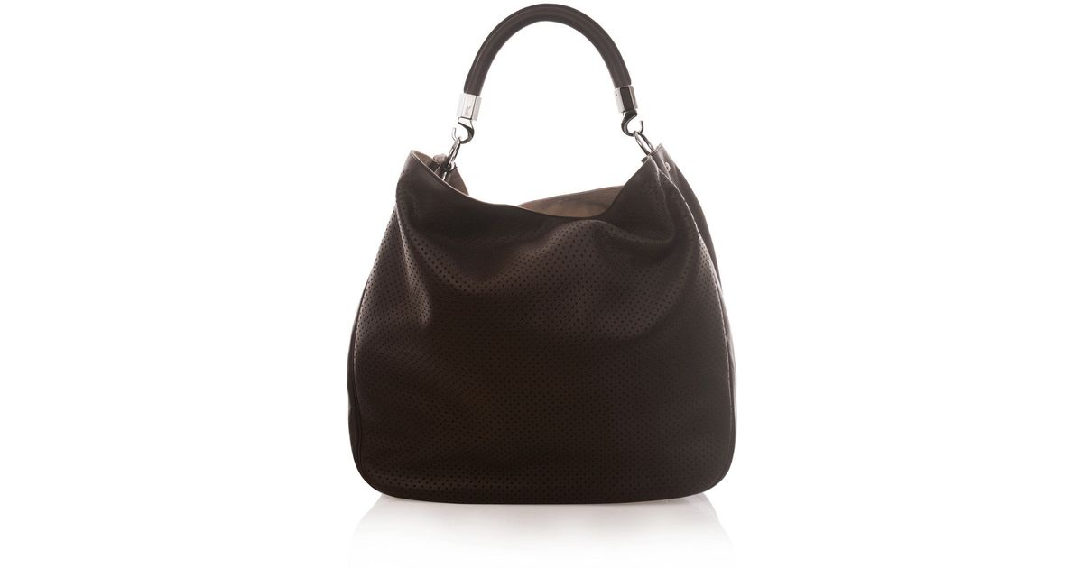 Saint laurent Perforated Roady Hobo in Brown | Lyst