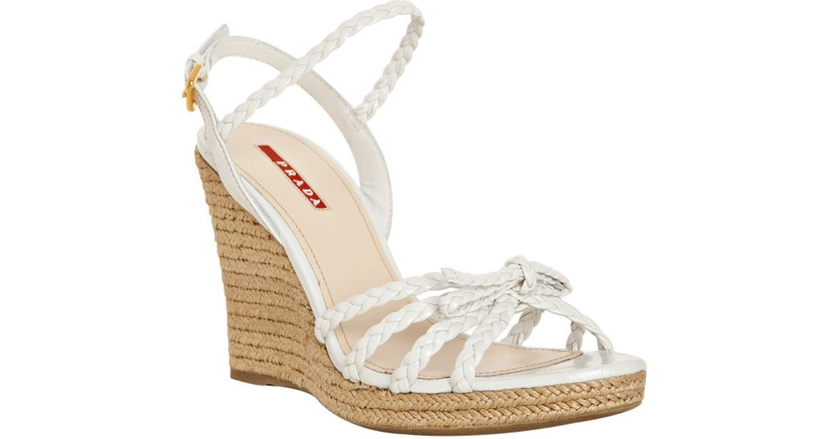 free shipping sale Prada Sport Braided Bow Wedges clearance limited edition brand new unisex I6kTcr