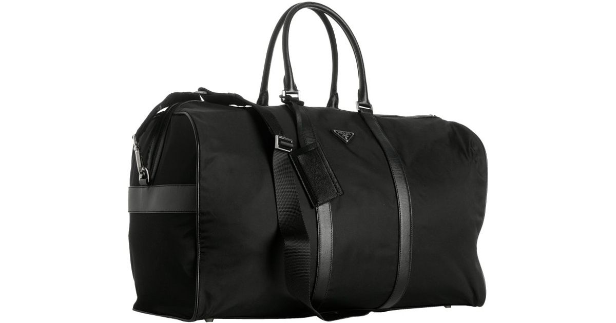 956668a8a37 ... authentic prada black nylon viaggio large duffle bag in black for men  lyst db1b8 31301