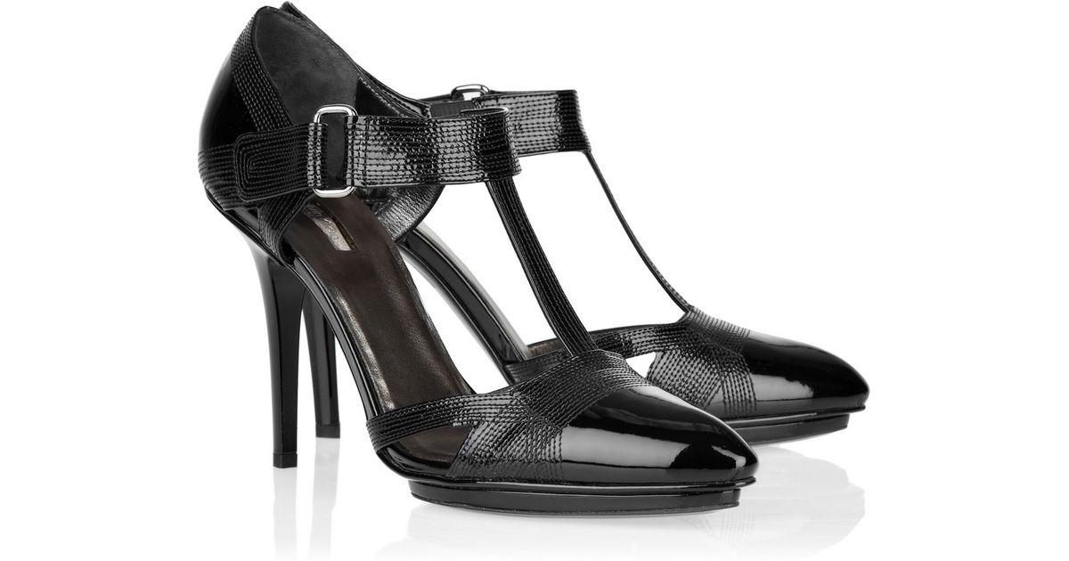 9dce309560e Calvin Klein - Black Patent-leather T-bar Pumps - Lyst