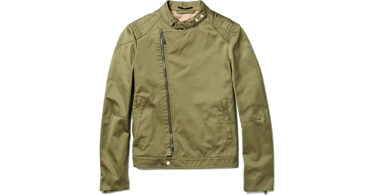 63bf56d46 Gucci Cotton Biker Jacket in Green for Men - Lyst