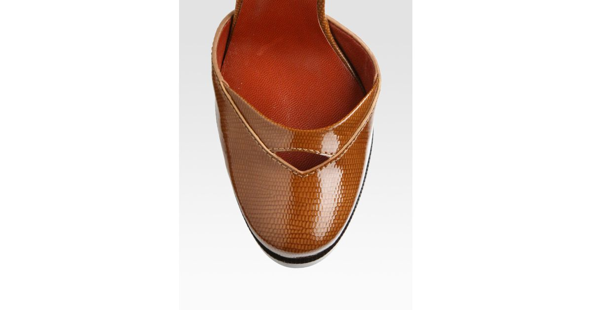 marc by marc closed toe wedge pumps in brown lyst