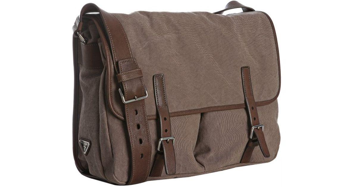 pradda - Prada Burnt Canvas Leather Trim Messenger Bag in Brown for Men | Lyst