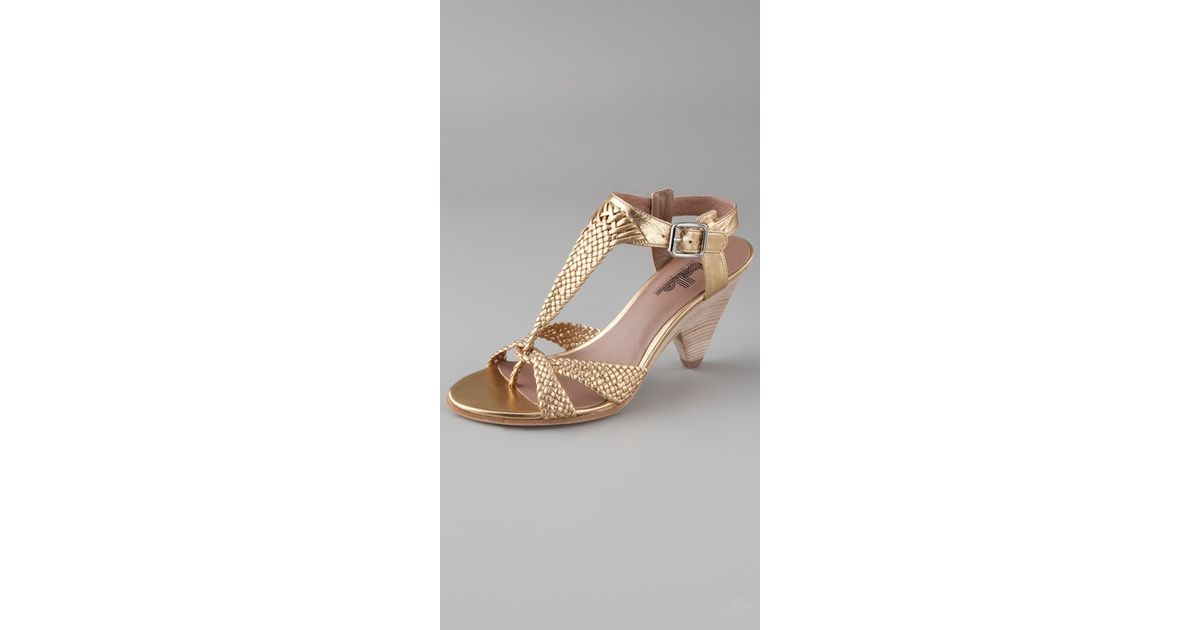 a2e5b9ef7398 Lyst - Belle By Sigerson Morrison Braided T Strap Sandals in Metallic