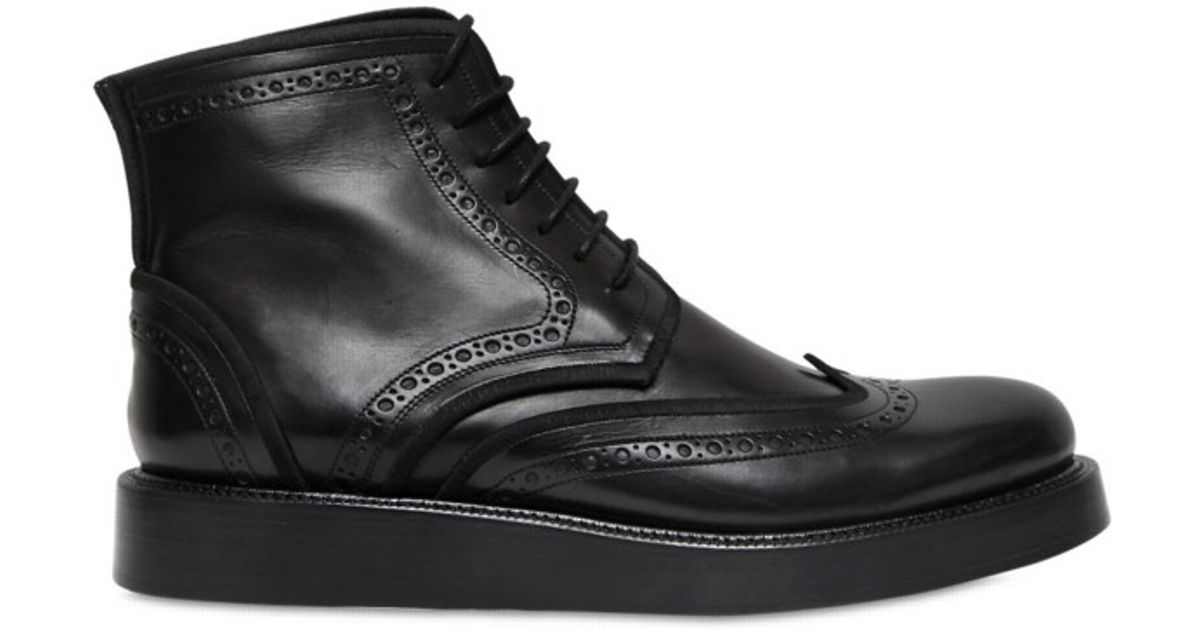 feb9c55e0f6 Lyst - Dior Homme Perforated Calfskin Lace Boots in Black for Men