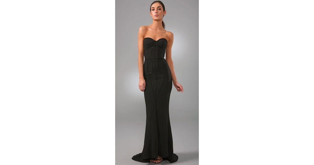 Lyst - Brian Reyes Corset Strapless Gown in Black