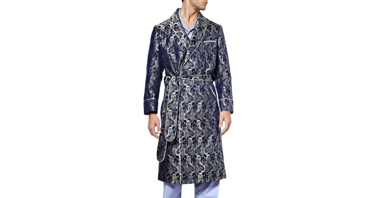 Turnbull & Asser Paisley Silk Dressing Gown in Blue for Men - Lyst