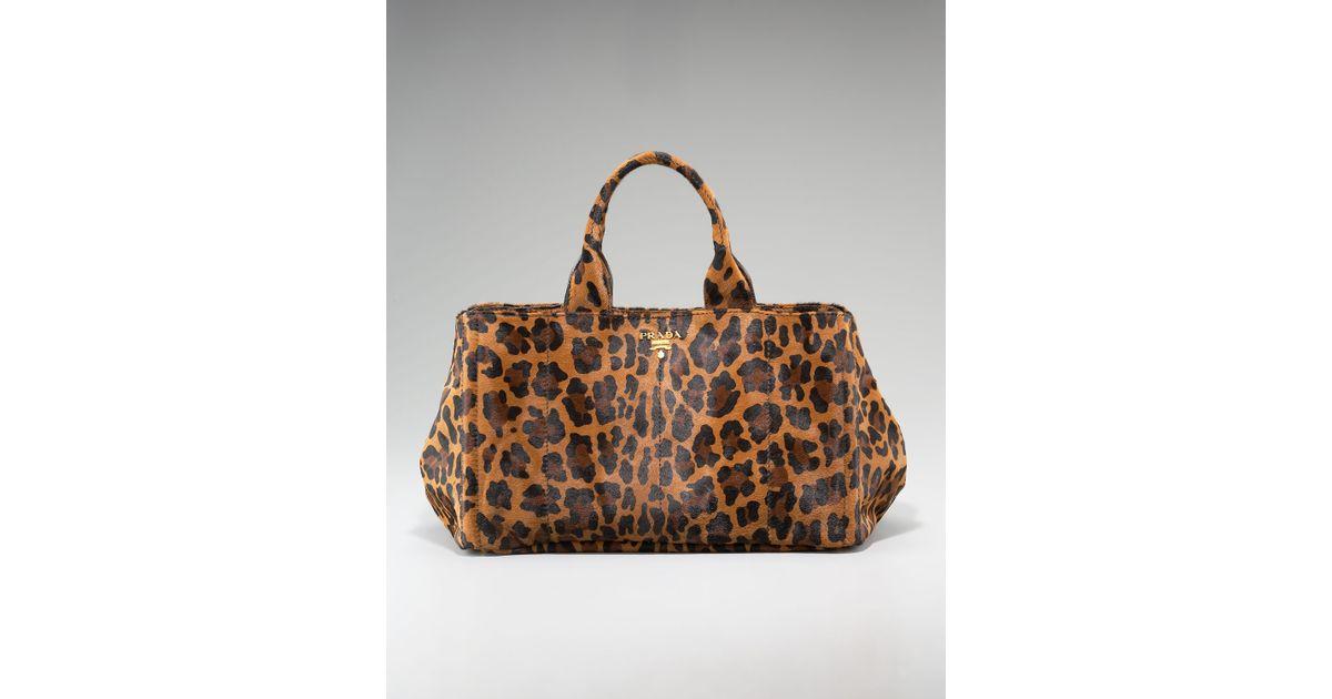 38655d0ff09c Prada Cavallino Leopard-print Calf Hair Tote - Lyst