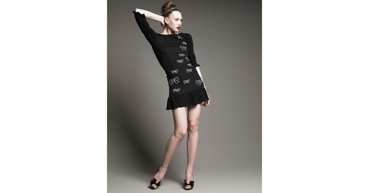 Lyst Red Valentino Sweater Dress With Bows In Black