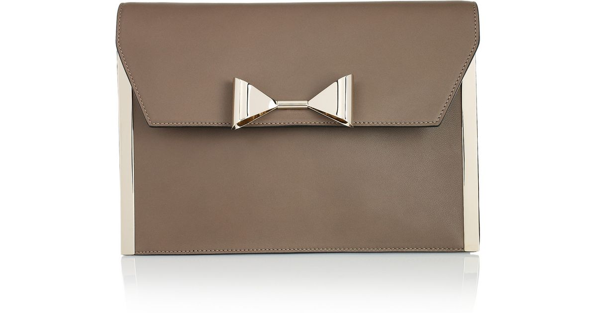 clhoe bag - Chlo�� Rachel Bow-embellished Leather Clutch in Brown (taupe) | Lyst
