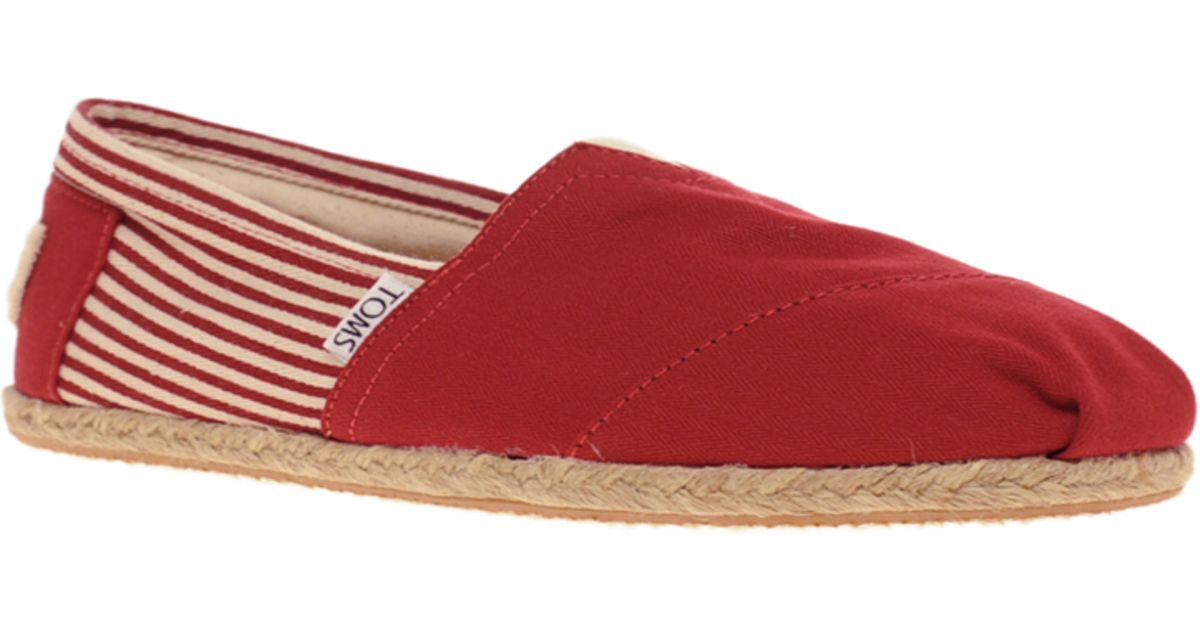 Lyst - TOMS University Striped Espadrilles in Red 6661b9e31