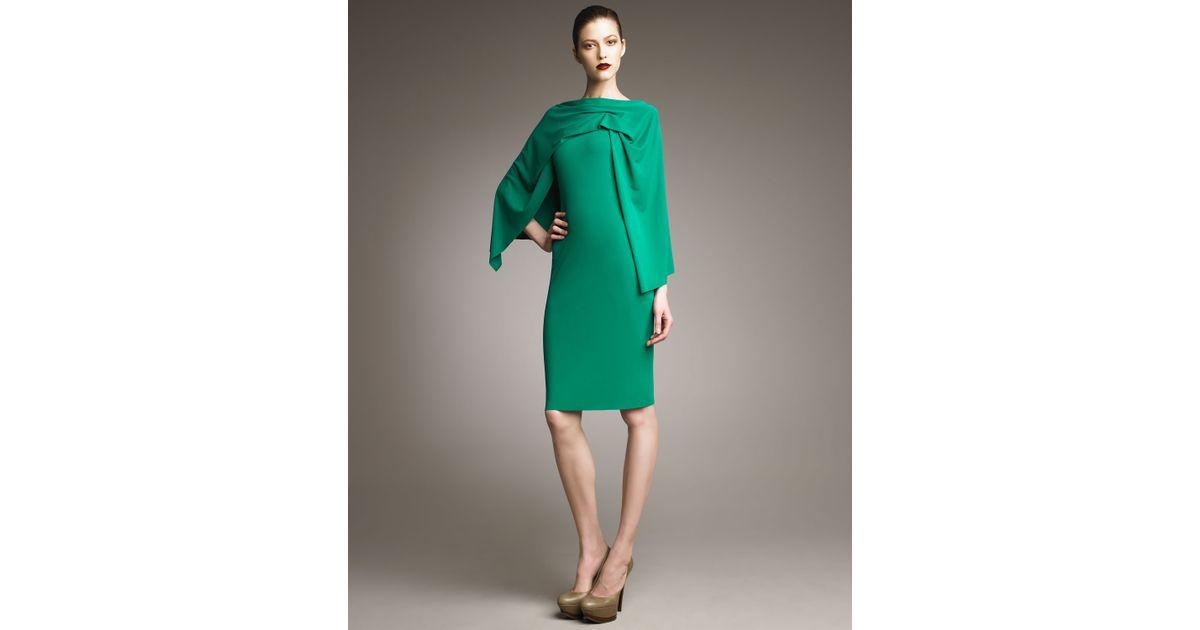 883fb2eb0431b Roland Mouret Ada Cape-effect Dress in Green - Lyst