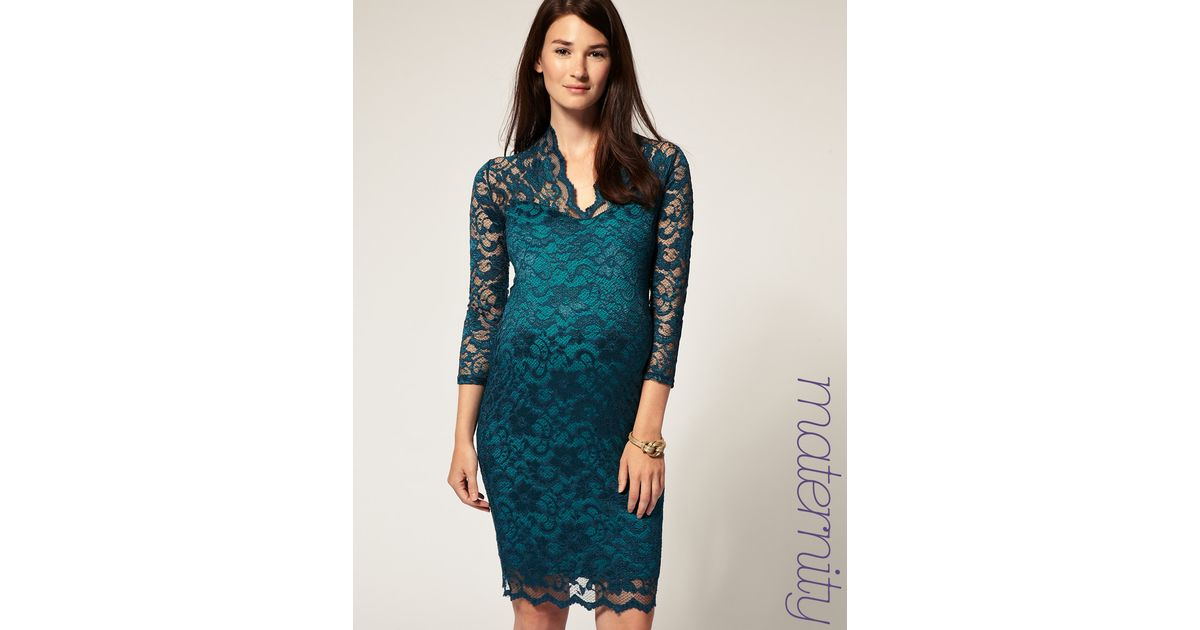 440decee6894f ASOS Collection Asos Maternity Katie Lace Dress in Green - Lyst