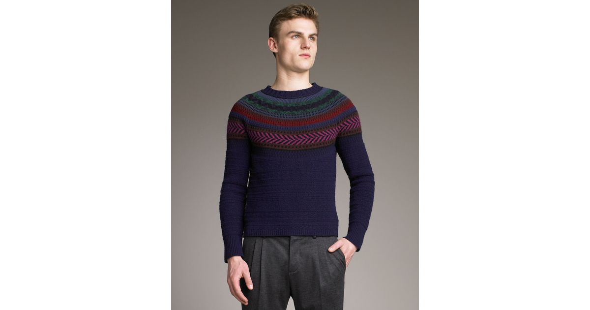 Lyst - Burberry prorsum Fair Isle Sweater in Blue for Men