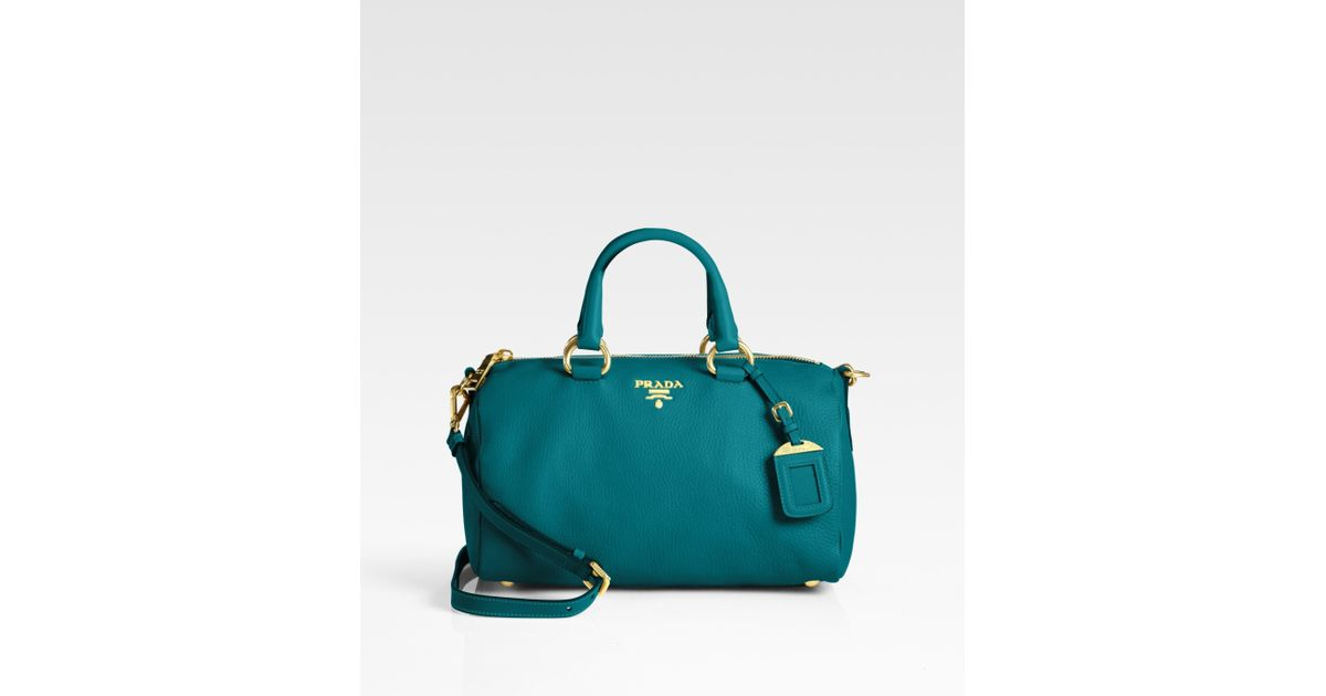 Prada Vitello Daino Boston Bag in Blue | Lyst