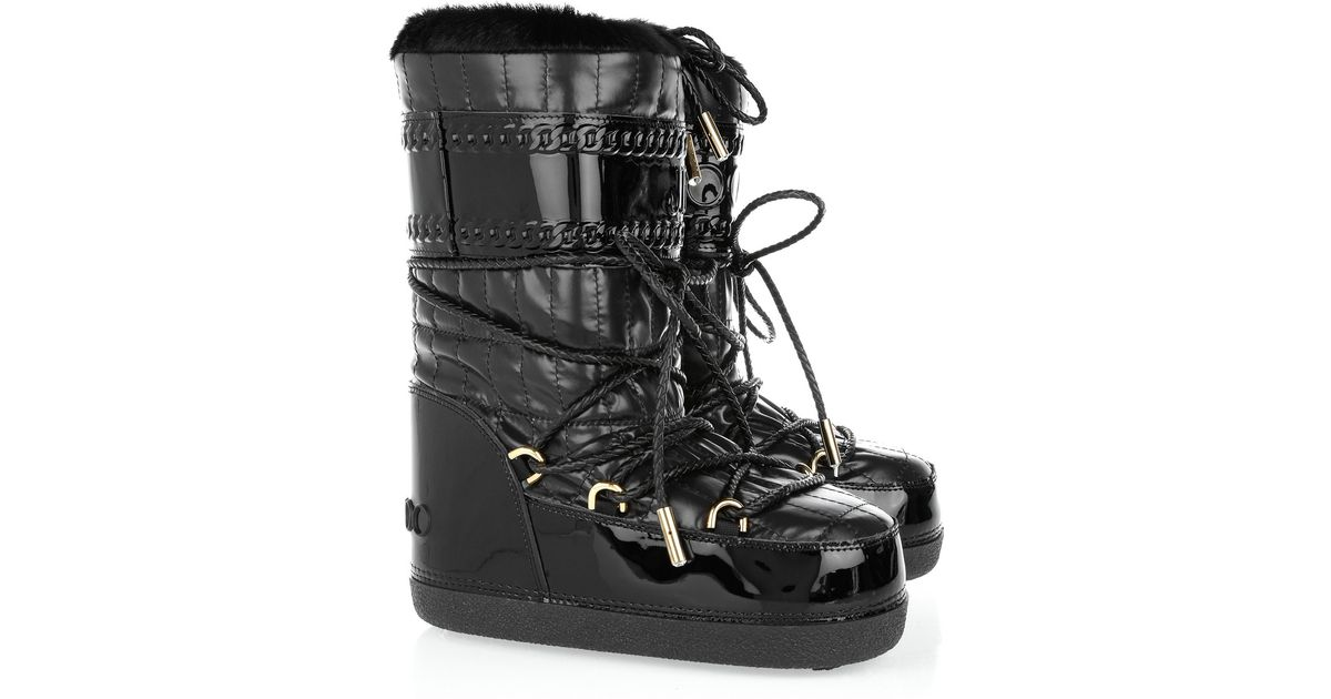 4671ac015fa5 Lyst - Jimmy Choo Grove Shearling-trimmed Snow Boots in Black