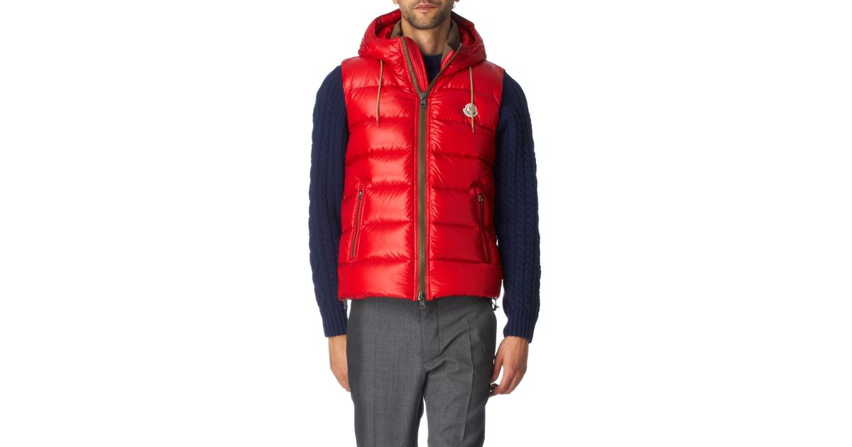 7541c7242449 Moncler Shiny Padded Gilet in Red for Men - Lyst
