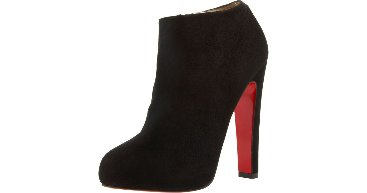 43f26328ae2 Lyst - Christian Louboutin Suede Thick-heel Bootie in Black
