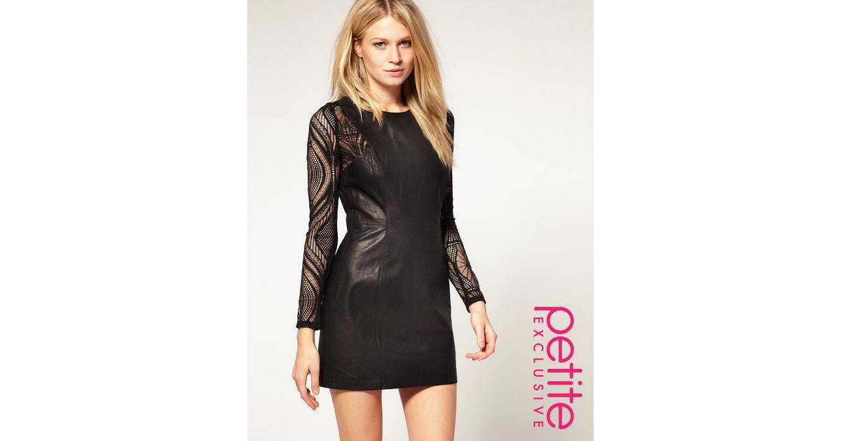 Lyst Asos Collection Asos Petite Exclusive Leather Dress With Lace