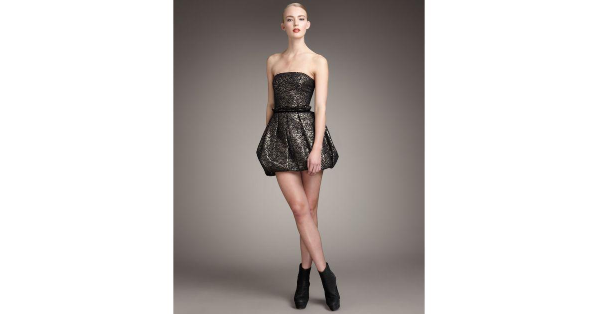 Rachel zoe Blair Strapless Bubble Dress in Metallic | Lyst