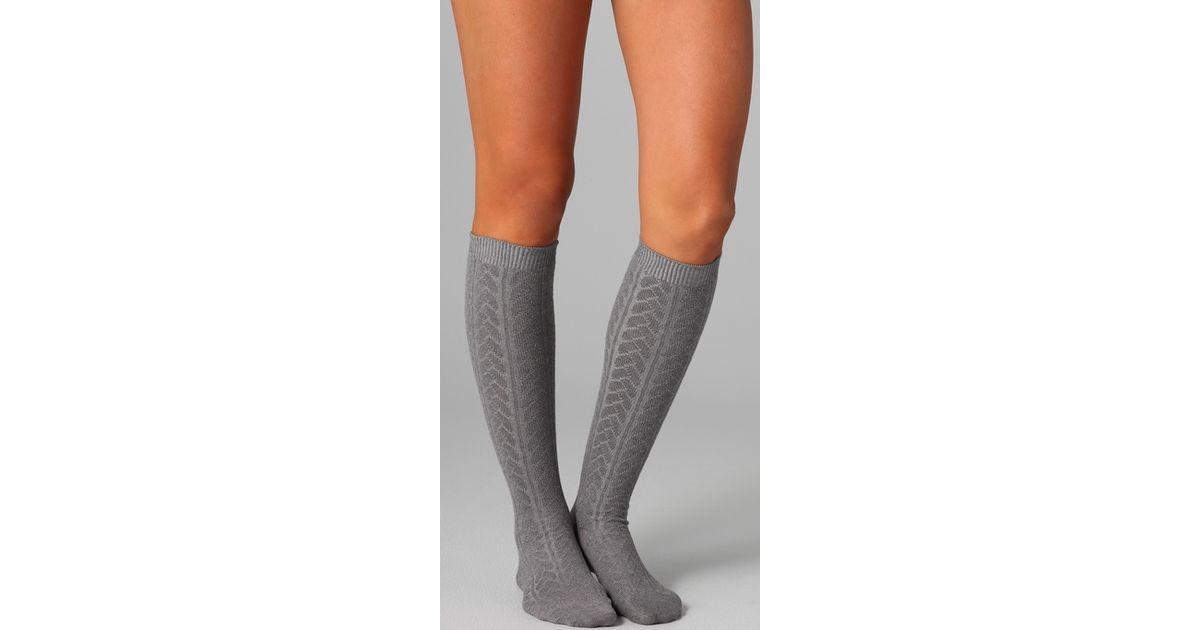 e672b3cfd Falke Striggings Cable Knit Knee High Socks in Gray - Lyst