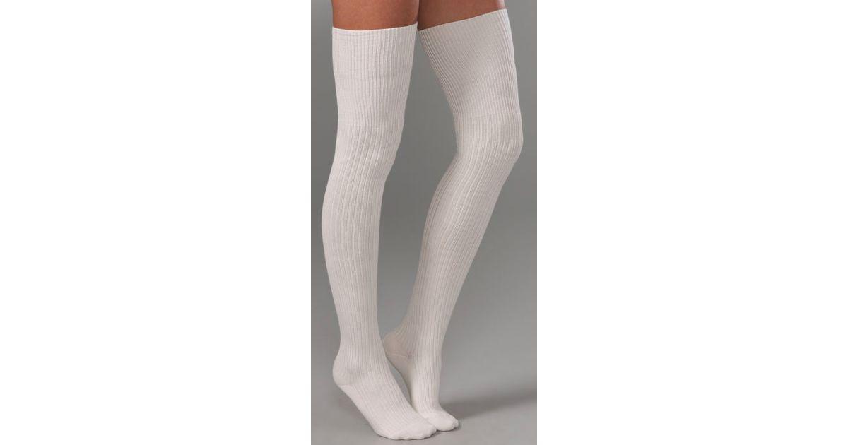 Falke Striggings Ribbed Over The Knee Socks in White | Lyst