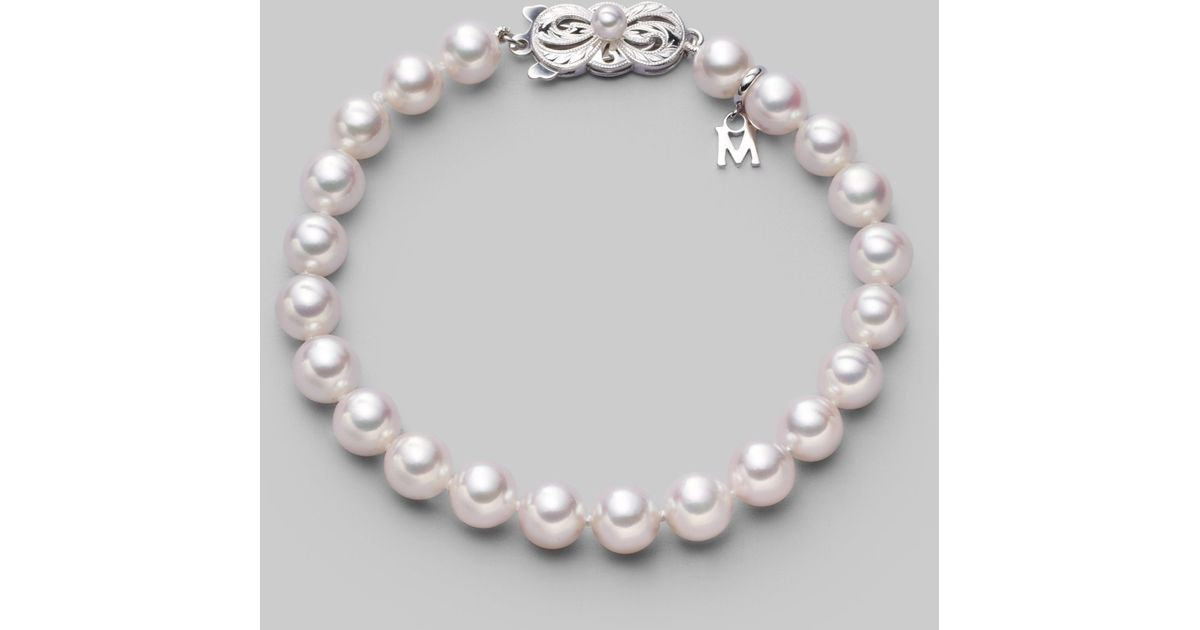 Lyst Mikimoto 7mm White Cultured Pearl 18k Gold Bracelet In