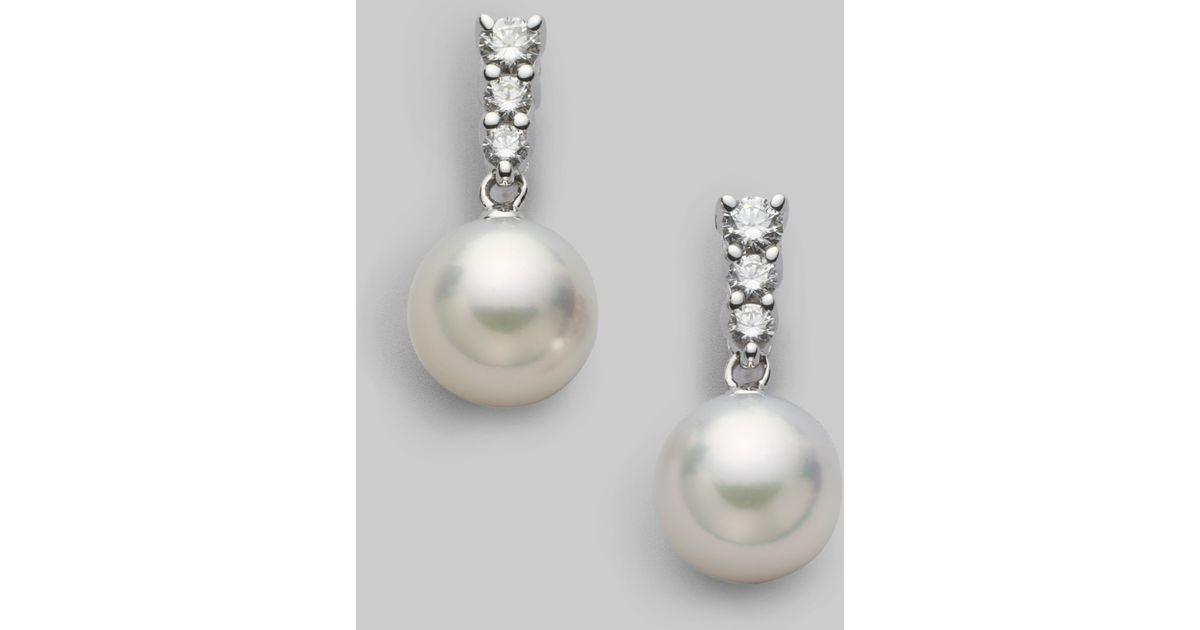 e80de3257 Mikimoto Morning Dew 8mm White Cultured Pearl, Diamond &18k White Gold  Earrings in White - Lyst