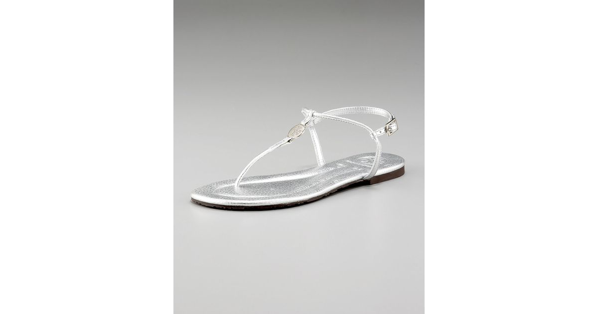 030ade5735c346 Lyst - Tory Burch Emmy Metallic Thong Sandals in Metallic