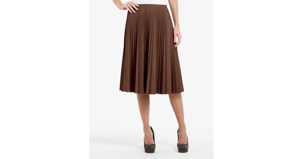 270376ff1b BCBGMAXAZRIA Elsa Sunburst-pleated Faux-leather Skirt in Brown - Lyst