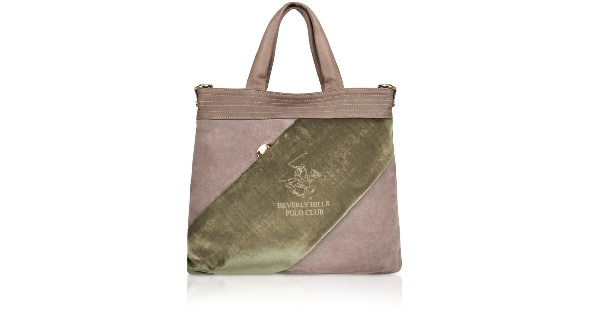 5c6c207b74a0 Lyst - Beverly Hills Polo Club Velvet Logo Band Flat Tote Bag in Brown