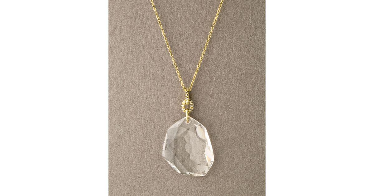 Lyst h stern dvf rock crystal quartz pendant in white aloadofball Gallery
