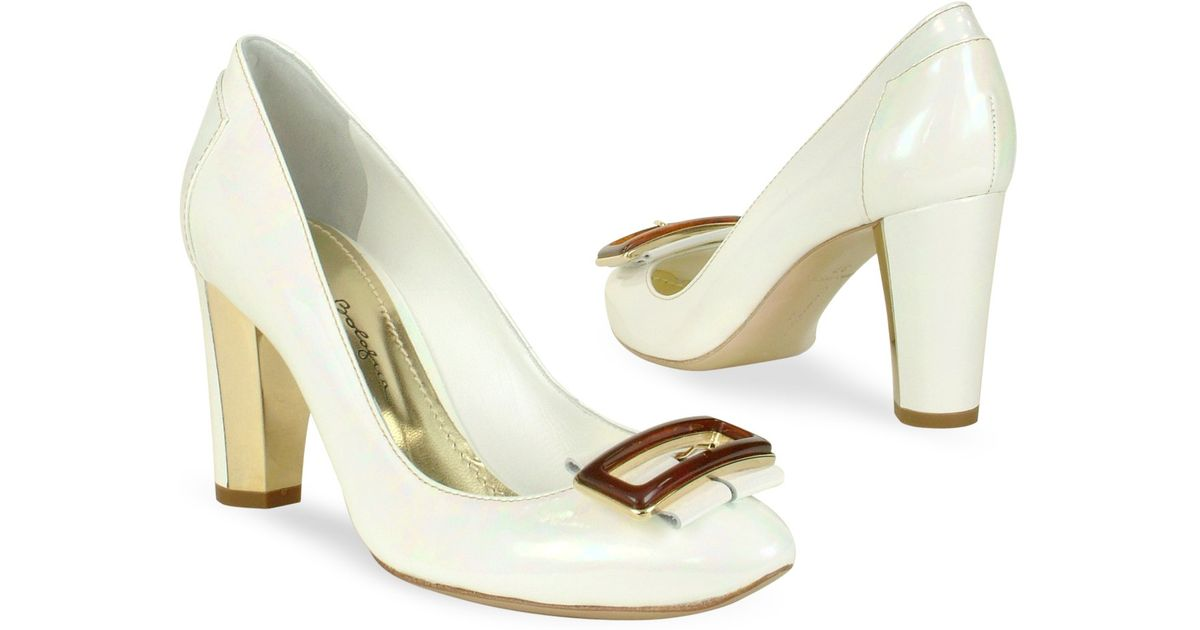 a8b1d34beb Lyst - Mario Bologna Opalescent White Patent Leather Pump Shoes in White