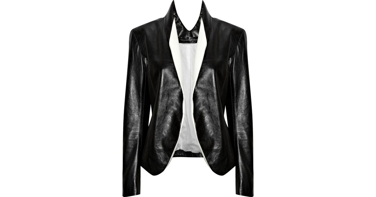 23bb0a7addc Lyst - Theyskens' Theory Juji Glazed-leather Jacket in Black