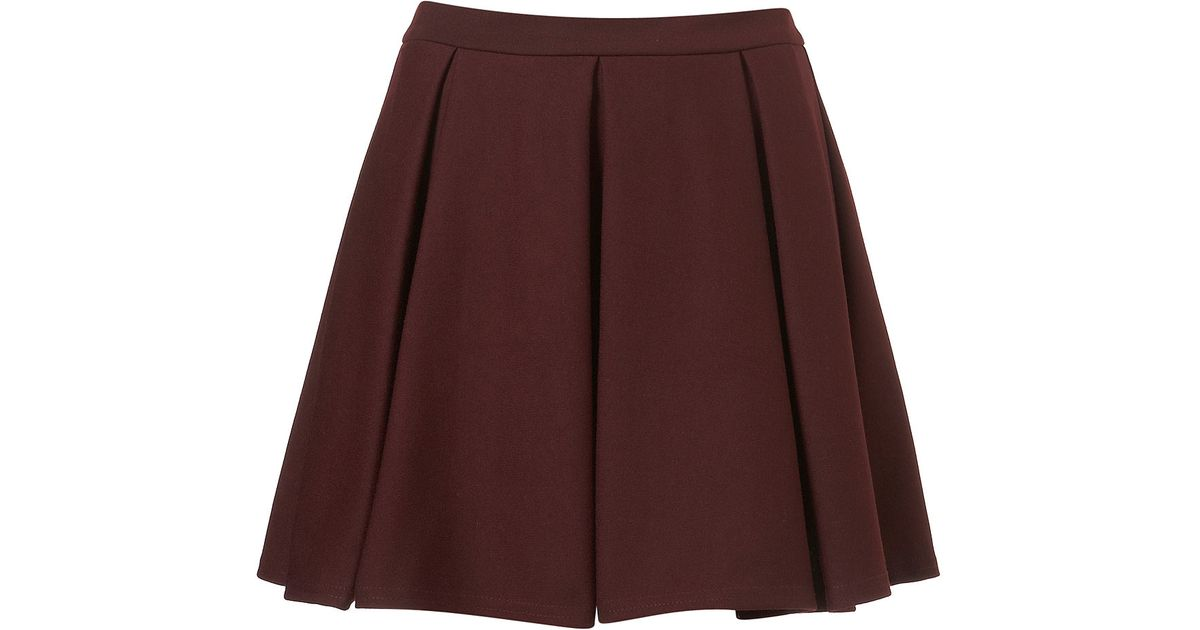 topshop pleated skater skirt in purple lyst