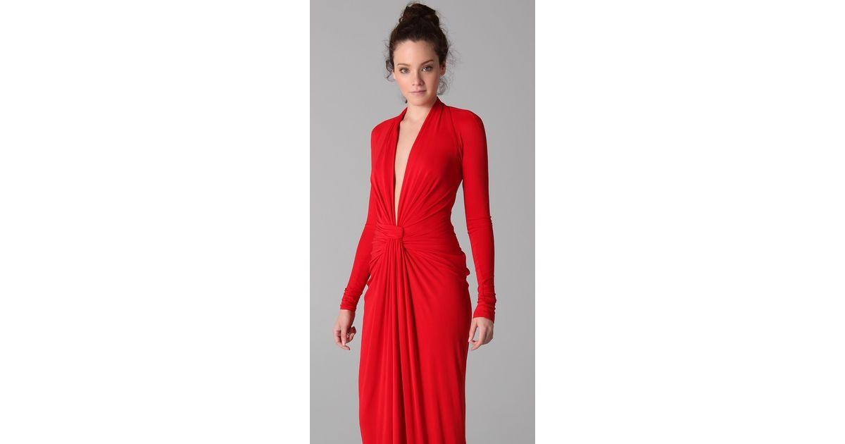 Lyst - Issa Long Sleeve Open Back Dress in Red