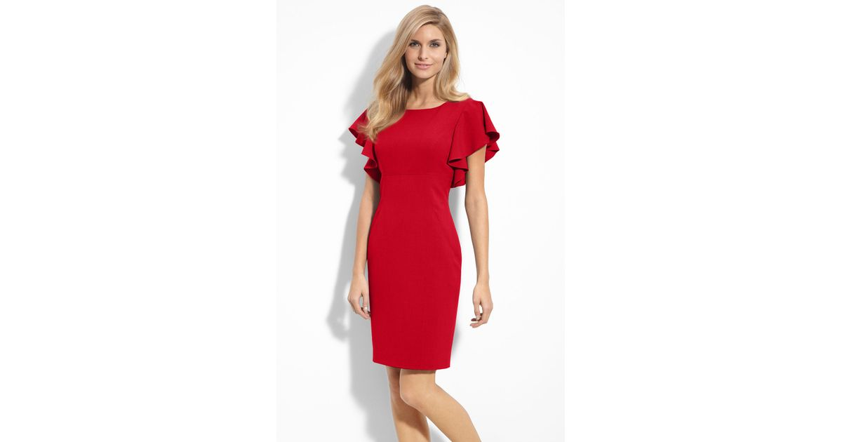 Lyst Calvin Klein Stretch Luxe Ruffle Sleeve Sheath Dress In Red