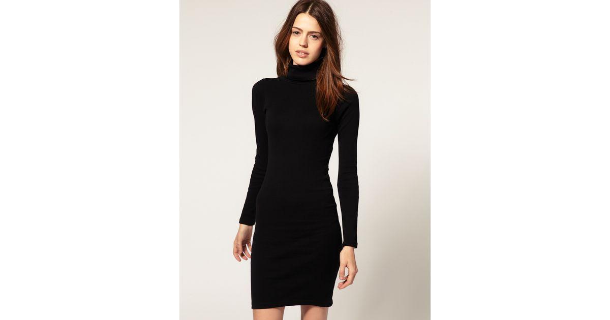 Polo neck black dress