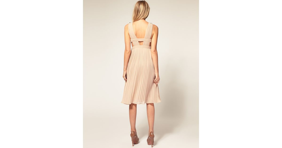 503f52a8fa67 Lyst - ASOS Collection Asos Petite Dress with Full Pleated Skirt and Sequin  Embellishment in Natural
