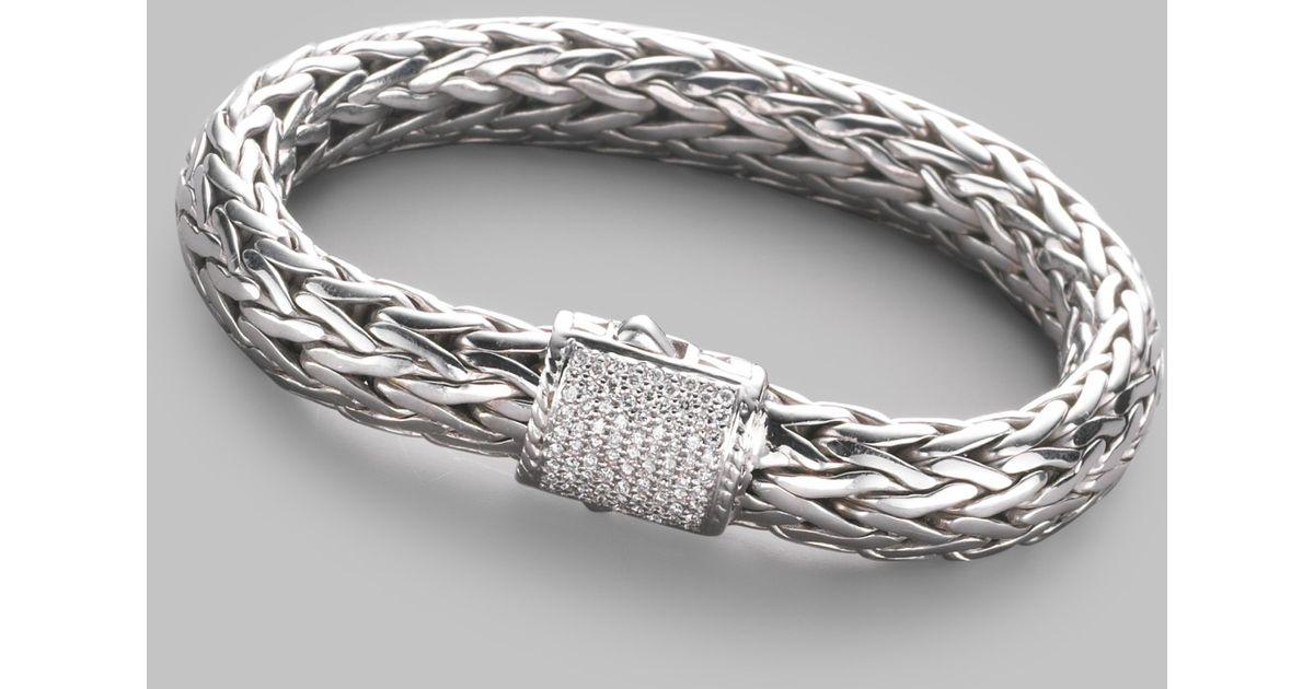 Lyst John Hardy Diamond Sterling Silver 18k White Gold Bracelet In Metallic