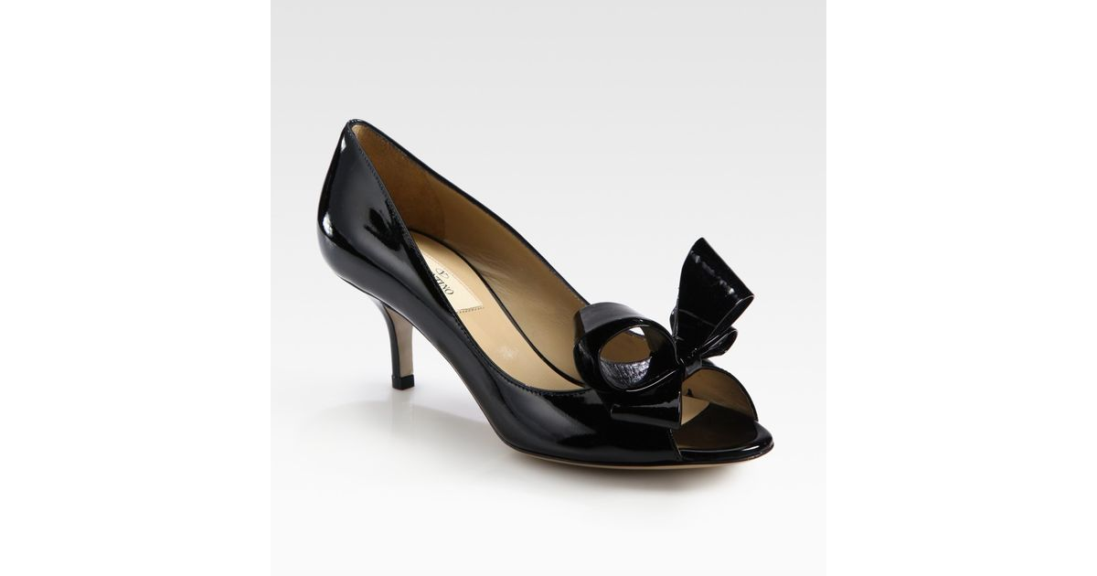 3c7c531ec233 Lyst - Valentino Patent Leather Peep Toe Bow Pumps in Black