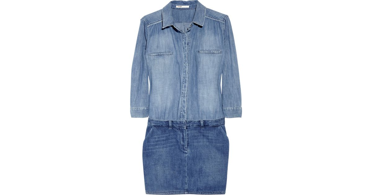 220702be2ee Lyst - Maje Enquete Two-tone Denim Shirt Dress in Blue