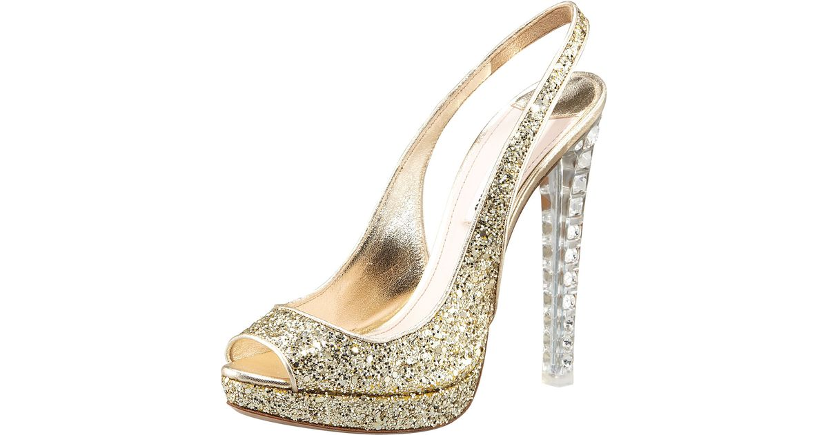 4d25648ef034 Lyst - Miu Miu Jewel-heel Glitter Pump in Metallic