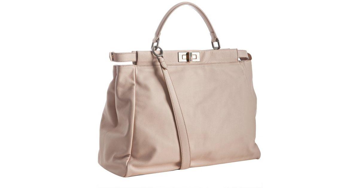 Fendi Pale Pink Leather Peekaboo Bag in Pink | Lyst