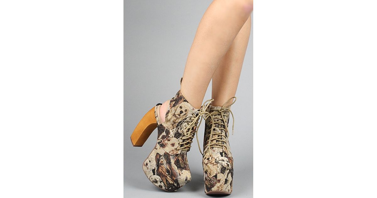 5cc8448b3c49 Lyst - Jeffrey Campbell The Lana Shoe in Dog Tapestry