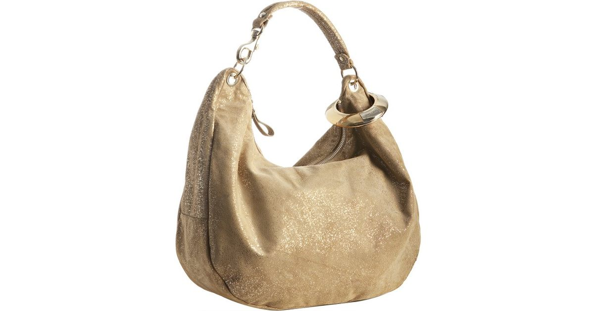 027944a643d3 Jimmy Choo Gold Glitter Suede Solar Bangle Hobo in Natural - Lyst