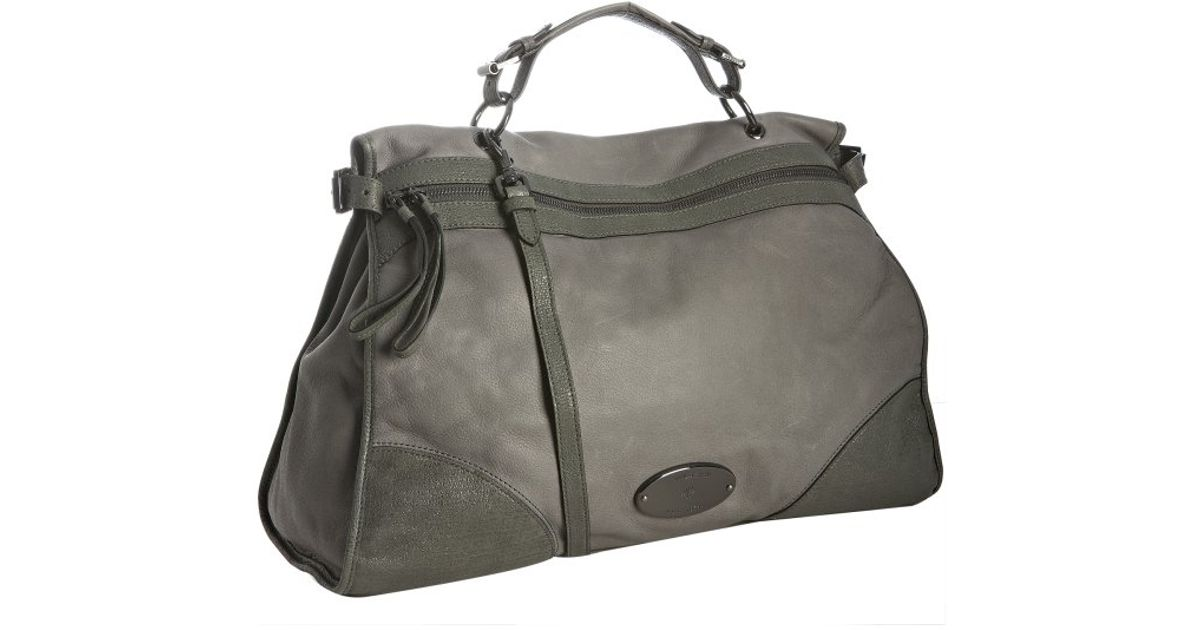 02b1422fe67f ... coupon code for lyst mulberry grey leather oversized taylor convertible  satchel in gray d5e62 0ca00