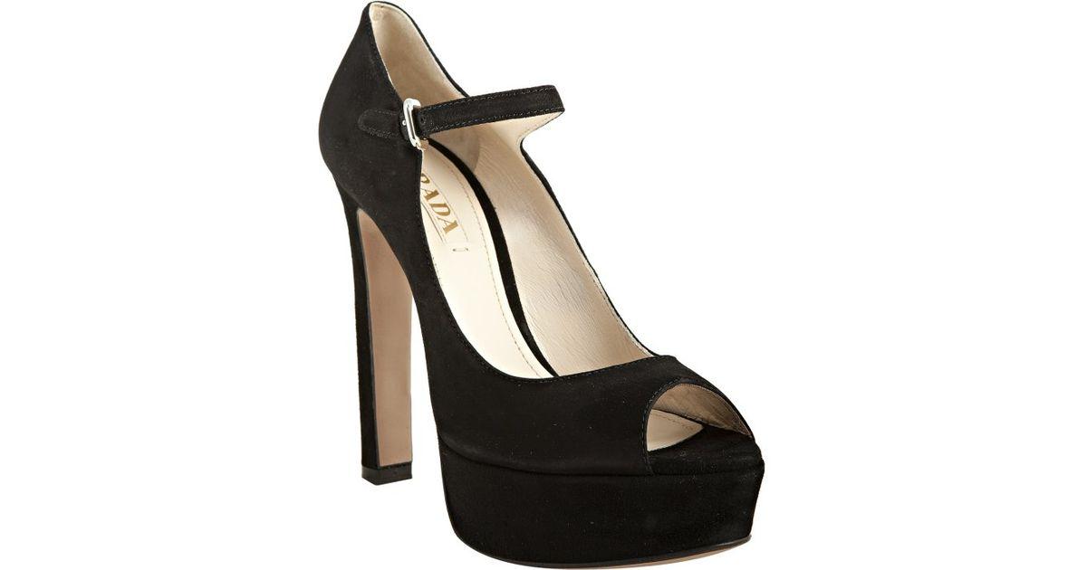 d13c88dfed0 womens black peep toe slingback heels shoes  prada black suede peep toe  mary jane platform pumps in black lyst