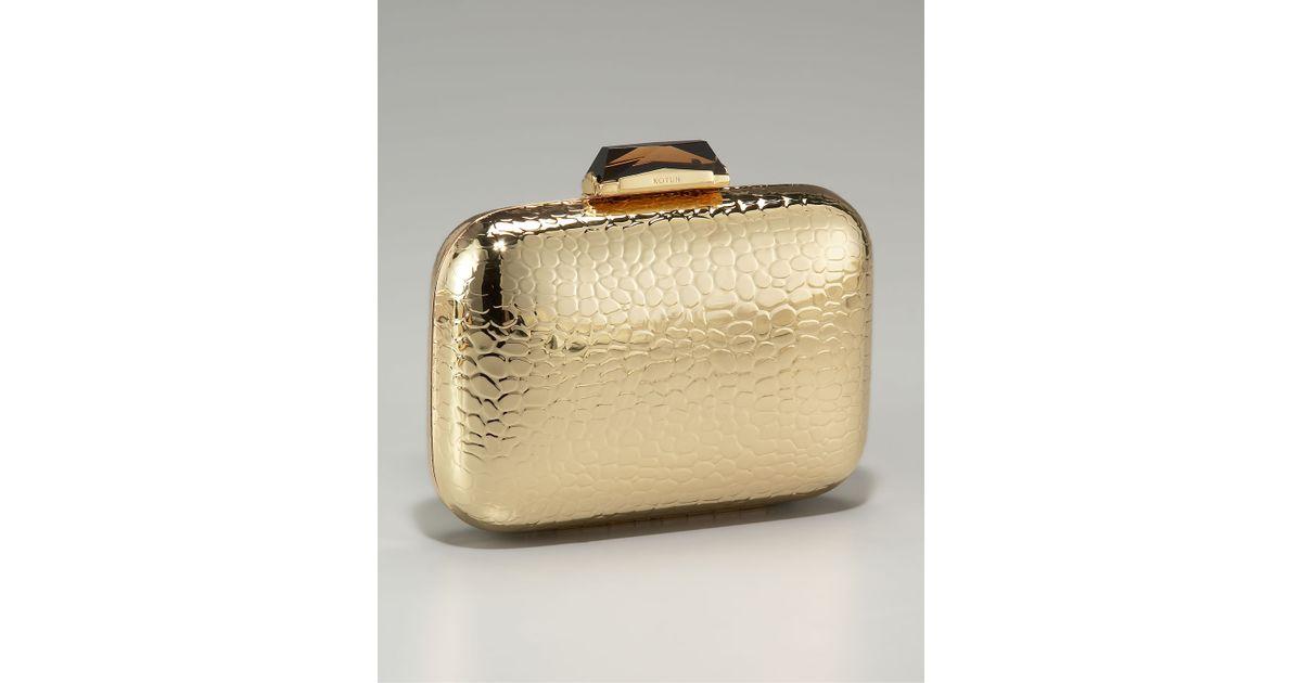 d0901396c83 KOTUR Morley Croc-embossed Box Clutch in Metallic - Lyst