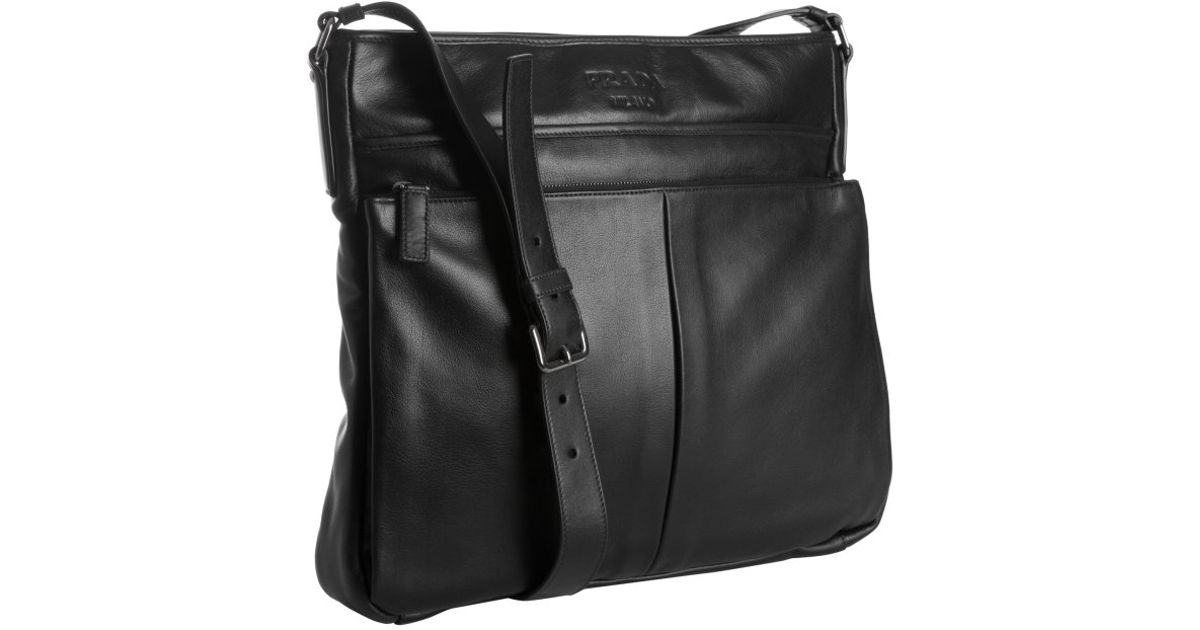 ... amazon lyst prada black leather bandoleer messenger bag in black for men  bb84b 99ce3 35c4661466458